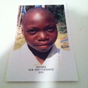 Samantha, the child I sponsor through Plan International.